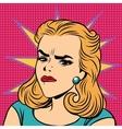 Emoji retro anger disgust girl emoticons vector image