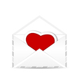 Envelope with valentine red heart vector image