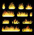 fire flames set isolated on black vector image vector image