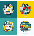 Flat icons set of cloud storage social media SEO vector image vector image
