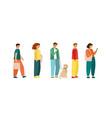 full length cartoon people standing in line vector image vector image