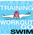 Girl swimming in butterfly stroke style vector image