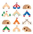 Glamping luxurious camping tents and bambu houses vector image vector image