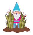 gnome coming out of the bushes with purple contour vector image vector image