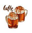 hand drawn watercolor caramel latte coffee vector image