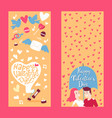 happy valentine day vertical banner with lettering vector image