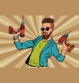 hipster repairman with a drill vector image vector image