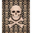 Huge skull on seamless dark pattern vector image