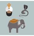 India animals and budda icons vector image vector image