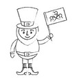 leprechaun character holding flag with clover vector image