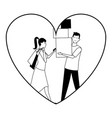 love couple cartoon in black and white vector image