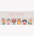 merry christmas card with cute animals hand drawn vector image vector image