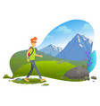 mountain tourism hiker with backpack rock vector image vector image
