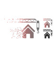moving pixel halftone home construction icon vector image vector image