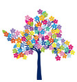 multicolored tree on white background vector image vector image