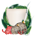 Pine Tree wreath with Christmas balls and sheet of vector image