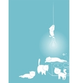 playful white cats card vector image