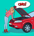 pop art blonde woman with broken car engine vector image
