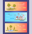 save the planet - set of modern flat design style vector image vector image