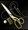 scissors and golden needle and thread for the vector image vector image