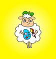 sheep painter with paints in hands and brush vector image