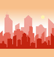 sunrise and modern silhouette city in flat art vector image vector image
