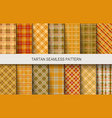 tartan seamless patterns in brown and orange vector image vector image