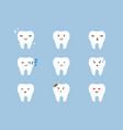 teeth emoji icon set cracked broken healthy vector image vector image