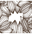 template with cocoa beans vector image