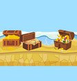 treasure island with chest and gold coins and vector image