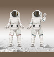 two astronauts wearing vector image