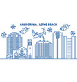 usa california long beach winter city skyline vector image vector image