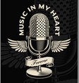 vintage microphone with wings and ribbon in vector image vector image