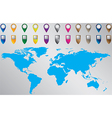 World map with pointers vector image vector image