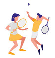young couple playing tennis vector image
