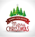 happy holidays label merry christmas card with vector image