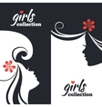 Set of beautiful women silhouettes vector image