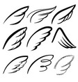 angel wings icon set sketch stylized bird wings vector image vector image