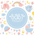 bashower banner light pink and blue invitation vector image vector image