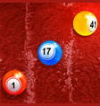 bingo lottery balls over textured paint background vector image vector image