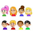 Boy and girl cartoon collection set vector image vector image