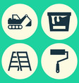 building icons set collection of stair paint vector image