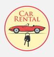 car rental icon in vintage style vector image vector image