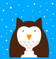 cartoon owl snow vector image vector image