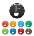 chemical flask icons set color vector image