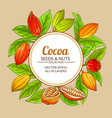 cocoa branches frame on color background vector image