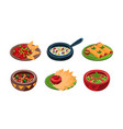 collection of mexican traditional food dishes vector image vector image