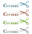 colorful set isolated dotted lines with scissors vector image vector image