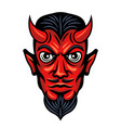 devil head with horns colored vector image vector image