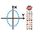 ellipse plot icon with lovely bonus vector image vector image